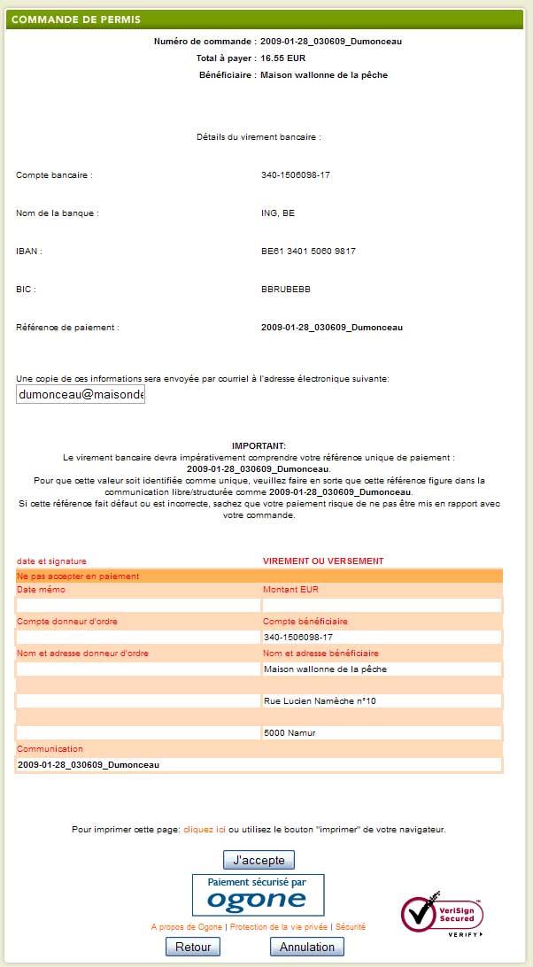 Maison wallonne de la p che asbl commande du permis en for Maison du monde commande en ligne
